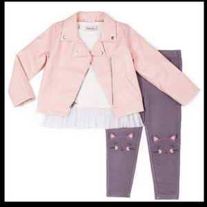 Little lass pink leather jacket size 4